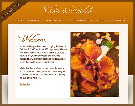 wedding website wedding party